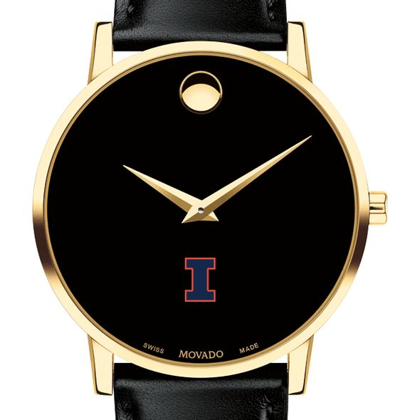 University of Illinois Men's Movado Gold Museum Classic Leather
