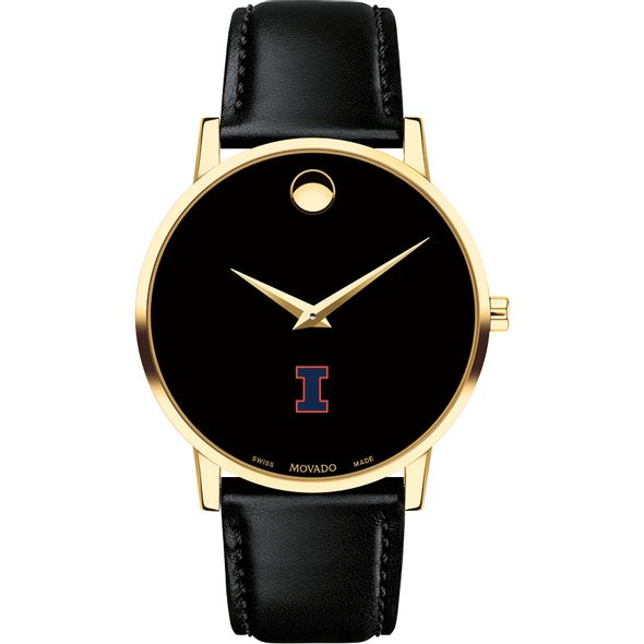 University of Illinois Men's Movado Gold Museum Classic Leather - Image 2