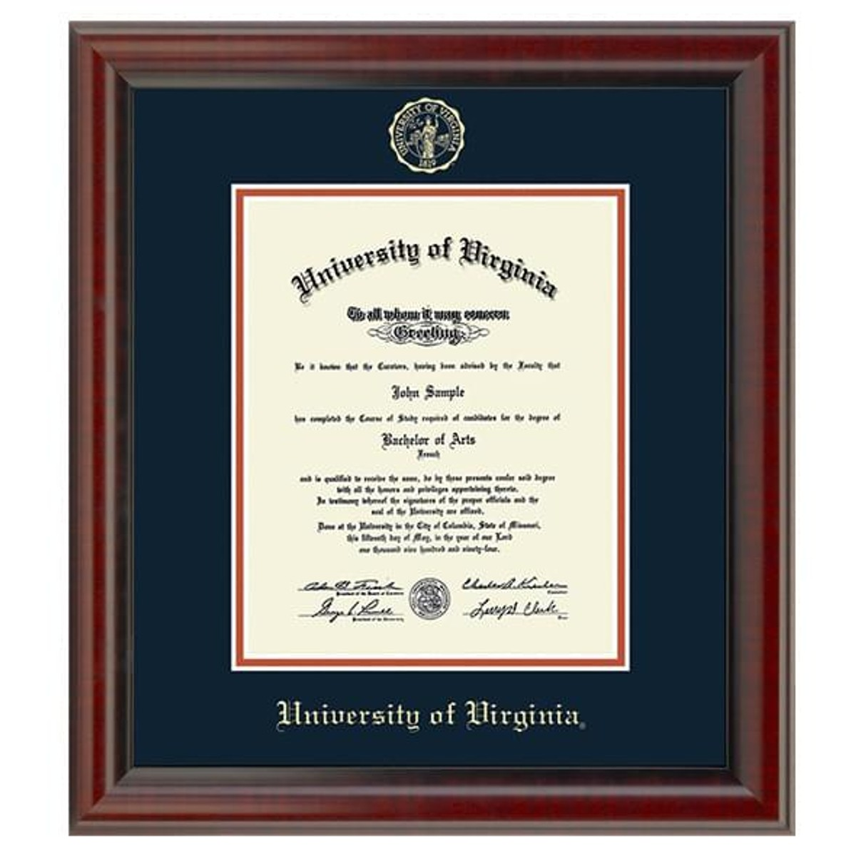 Official University Of Virginia Diploma Frame The