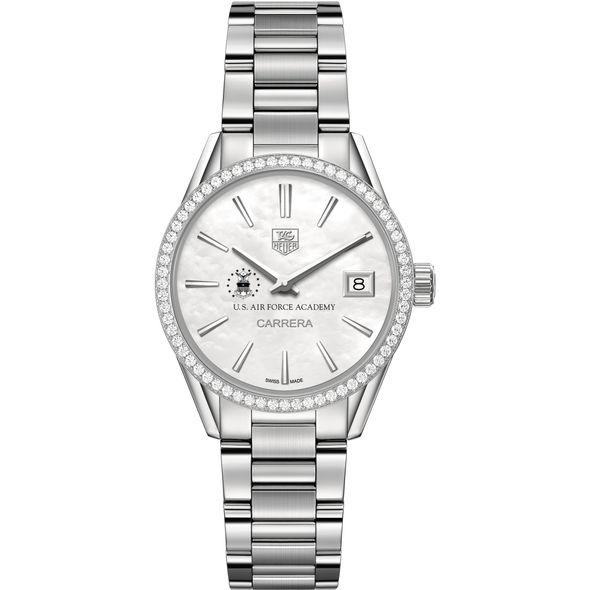 US Air Force Academy Women's TAG Heuer Steel Carrera with MOP Dial & Diamond Bezel - Image 2