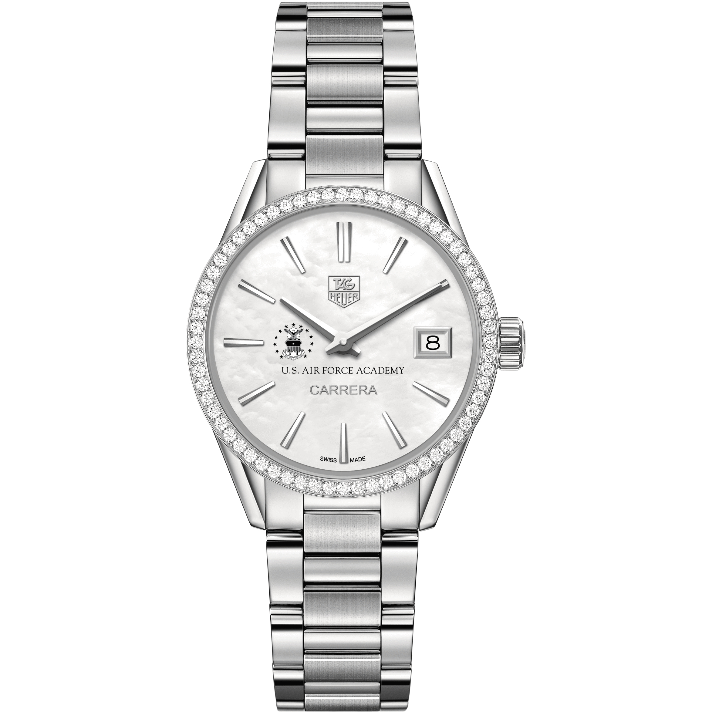 Air Force Academy Women's TAG Heuer Steel Carrera with MOP Dial & Diamond Bezel - Image 2