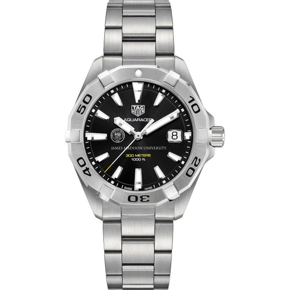 James Madison University Men's TAG Heuer Steel Aquaracer with Black Dial - Image 2