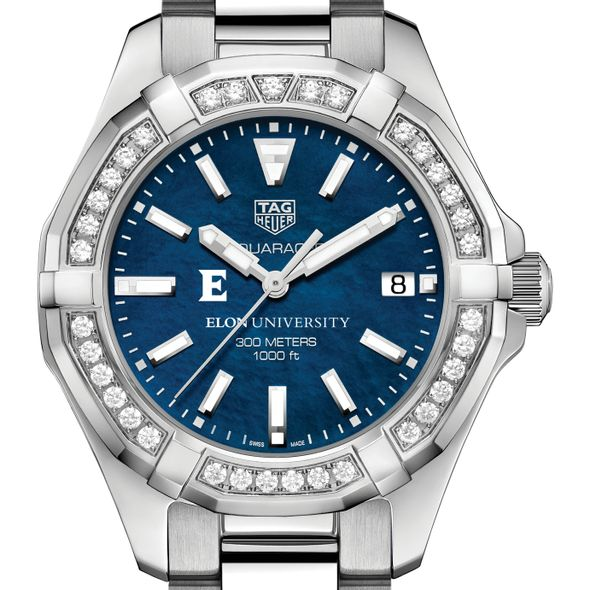 Elon Women's TAG Heuer 35mm Steel Aquaracer with Blue Dial
