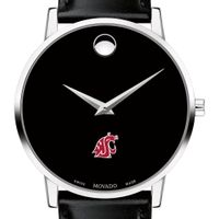 Washington State University Men's Movado Museum with Leather Strap