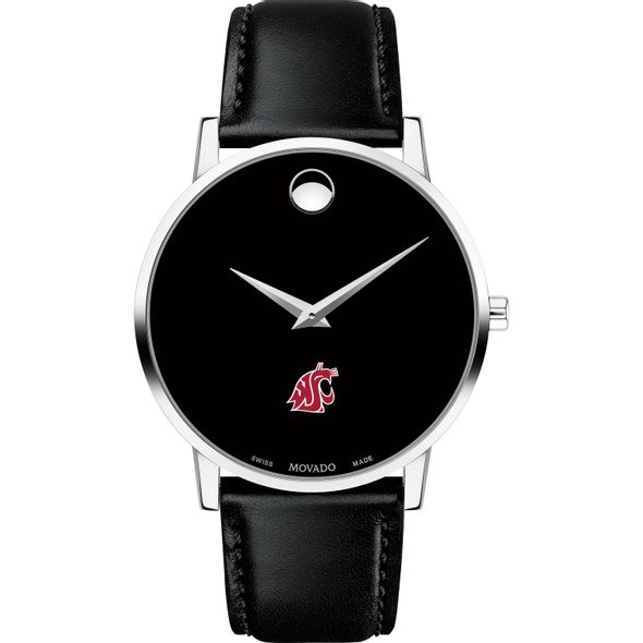 Washington State University Men's Movado Museum with Leather Strap - Image 2