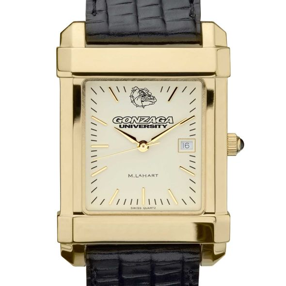 Gonzaga Men's Gold Quad with Leather Strap