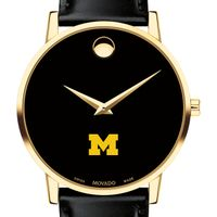 University of Michigan Men's Movado Gold Museum Classic Leather