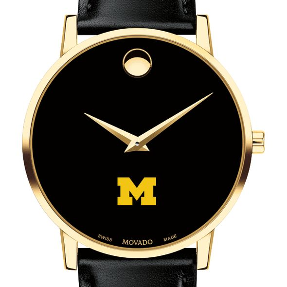 Michigan Men's Movado Gold Museum Classic Leather