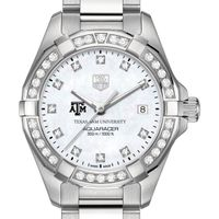 Texas A&M Women's TAG Heuer Steel Aquaracer with MOP Diamond Dial & Diamond Bezel