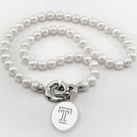 Temple Pearl Necklace with Sterling Silver Charm