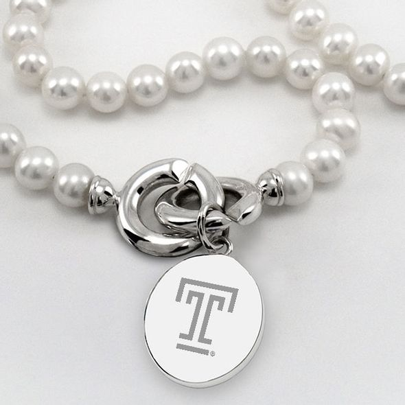 Temple Pearl Necklace with Sterling Silver Charm - Image 2