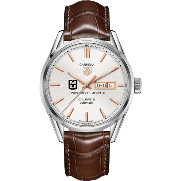 University of Missouri Men's TAG Heuer Day/Date Carrera with Silver Dial & Strap - Image 2