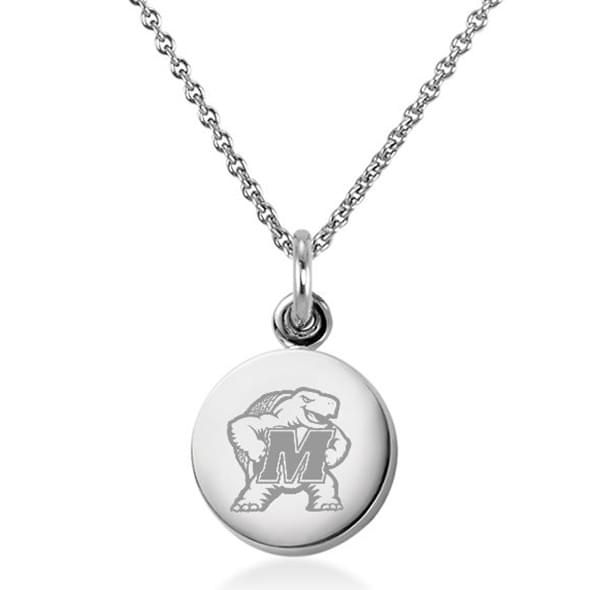 University of Maryland Necklace with Charm in Sterling Silver - Image 1