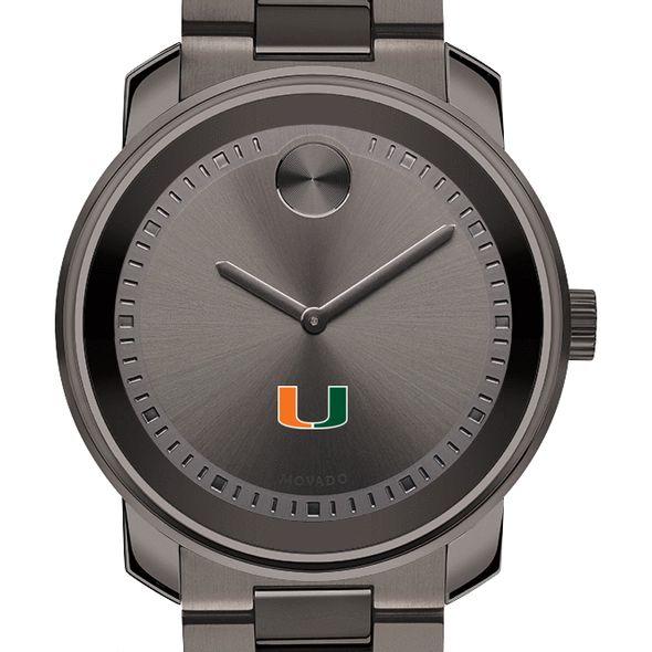 University of Miami Men's Movado BOLD Gunmetal Grey - Image 1