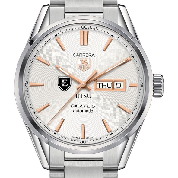 East Tennessee State University Men's TAG Heuer Day/Date Carrera with Silver Dial & Bracelet