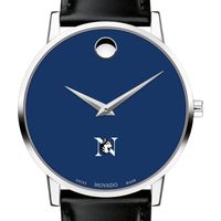 Northeastern University Men's Movado Museum with Blue Dial & Leather Strap