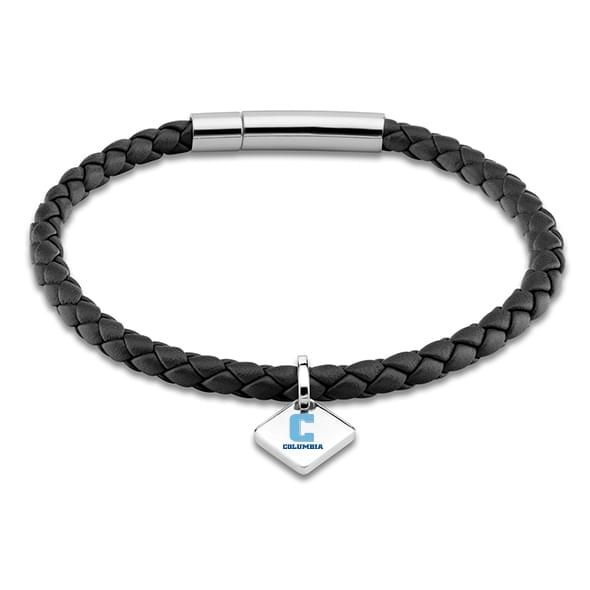 Columbia Leather Bracelet with Sterling Silver Tag - Black