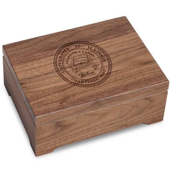 University of Illinois Solid Walnut Desk Box - Image 1