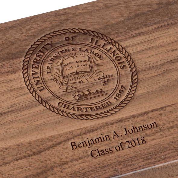 University of Illinois Solid Walnut Desk Box - Image 3