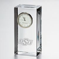 Oklahoma State University Tall Glass Desk Clock by Simon Pearce