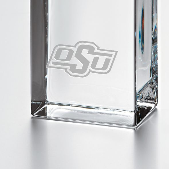 Oklahoma State University Tall Glass Desk Clock by Simon Pearce - Image 2