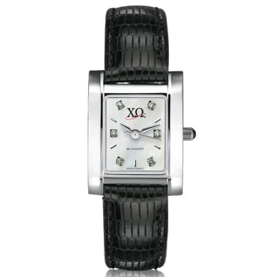 Chi Omega Women's Mother of Pearl Quad Watch with Diamonds & Leather Strap