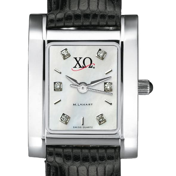 Chi Omega Women's Mother of Pearl Quad Watch with Diamonds & Leather Strap - Image 2