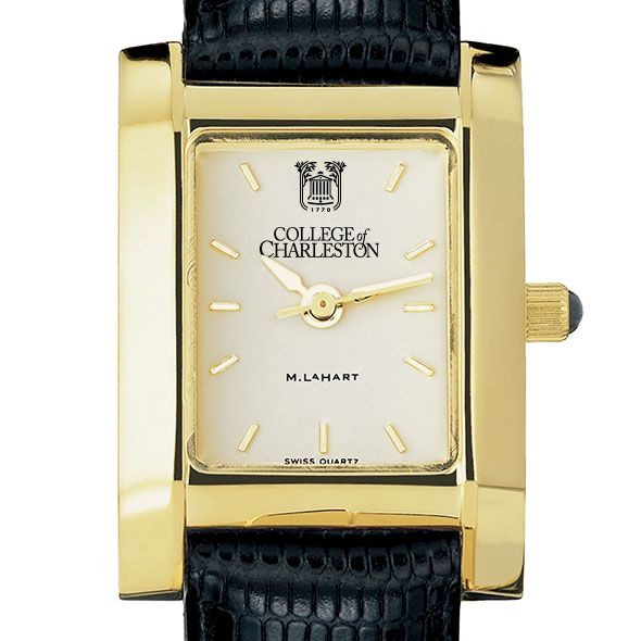 College of Charleston Women's Gold Quad with Leather Strap