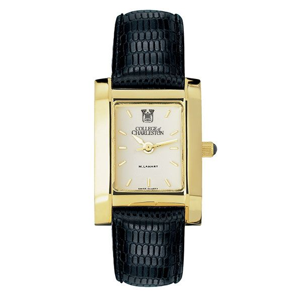 College of Charleston Women's Gold Quad with Leather Strap - Image 2