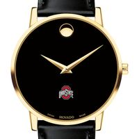 Ohio State Men's Movado Gold Museum Classic Leather