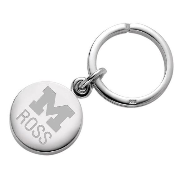Michigan Ross Sterling Silver Insignia Key Ring - Image 1