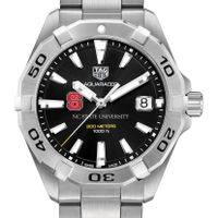 NC State Men's TAG Heuer Steel Aquaracer with Black Dial