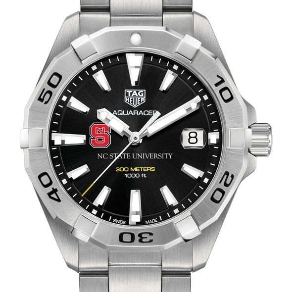 North Carolina State Men's TAG Heuer Steel Aquaracer with Black Dial