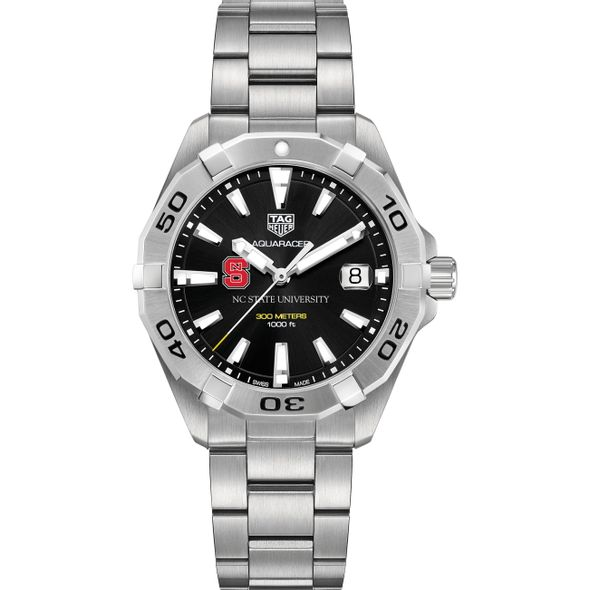 North Carolina State Men's TAG Heuer Steel Aquaracer with Black Dial - Image 2