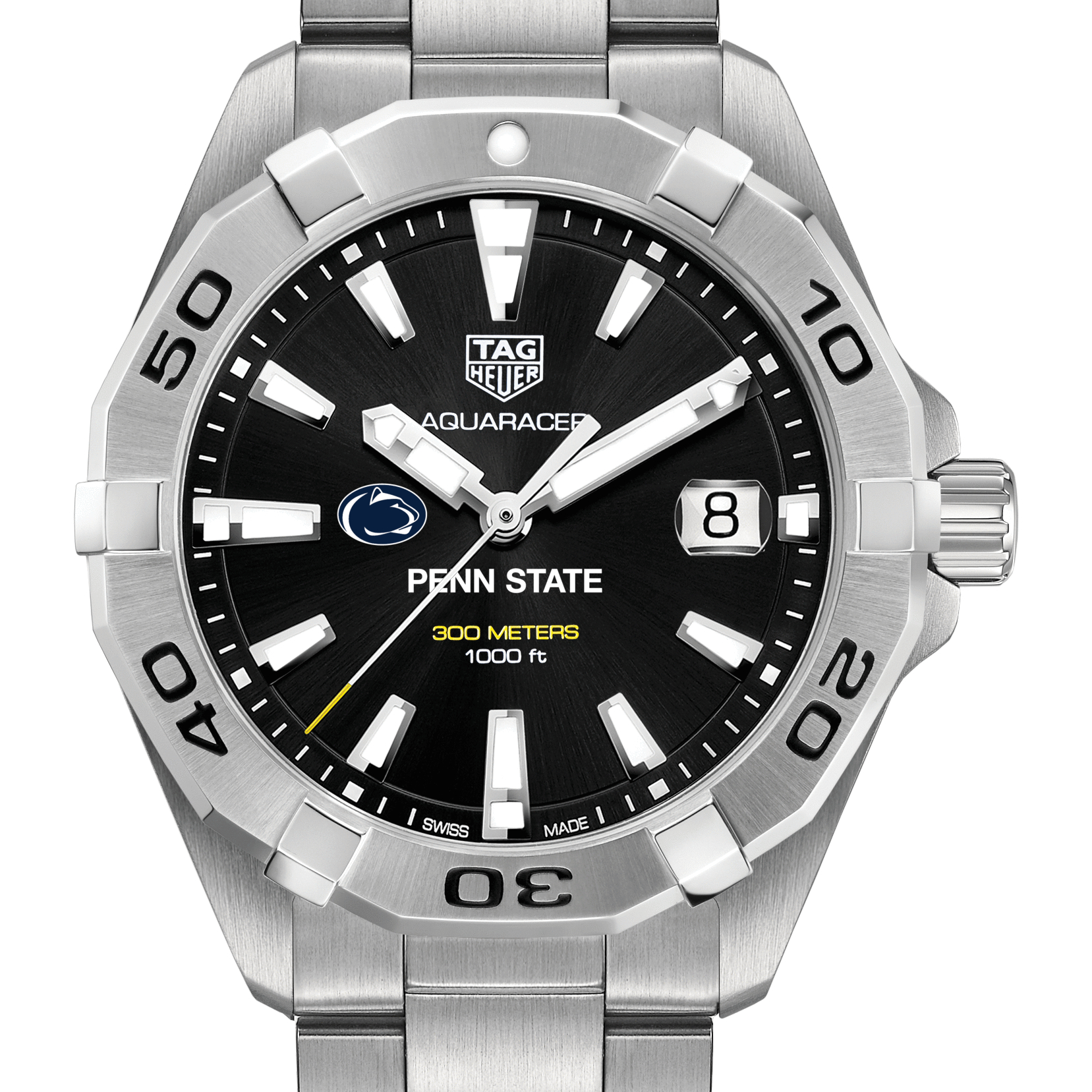 Penn State Men's TAG Heuer Steel Aquaracer with Black Dial - Image 1