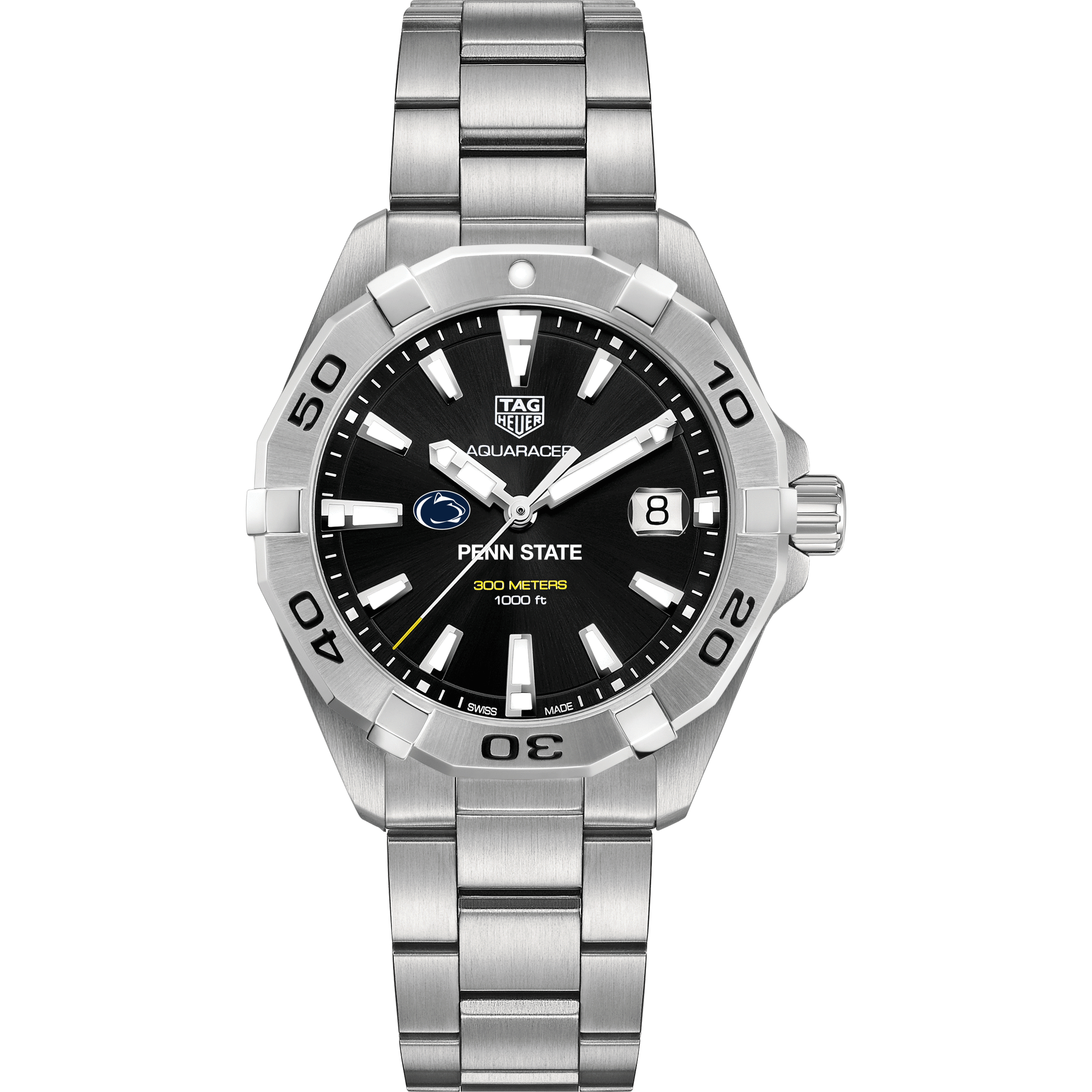 Penn State Men's TAG Heuer Steel Aquaracer with Black Dial - Image 2