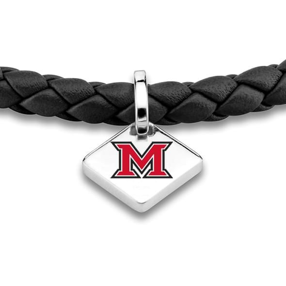 Miami University Leather Bracelet with Sterling Tag - Black - Image 2