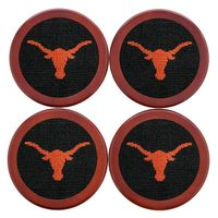 Texas Needlepoint Coasters - Black