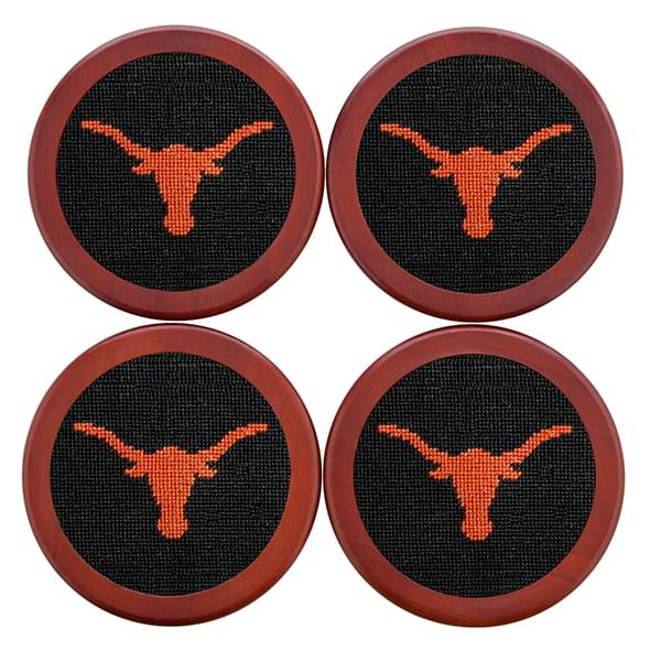 Texas Needlepoint Coasters - Black