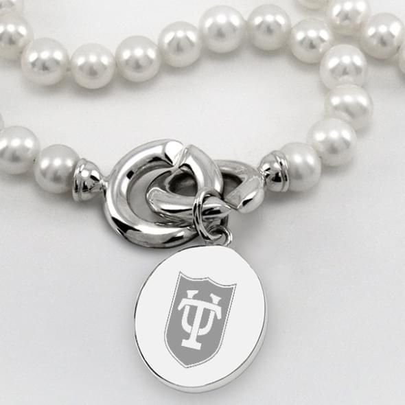 Tulane Pearl Necklace with Sterling Silver Charm - Image 2