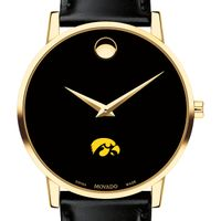 University of Iowa Men's Movado Gold Museum Classic Leather