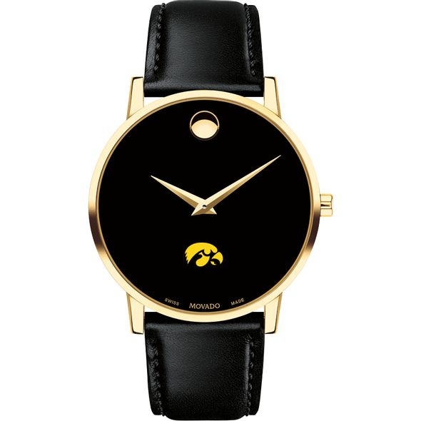 University of Iowa Men's Movado Gold Museum Classic Leather - Image 2