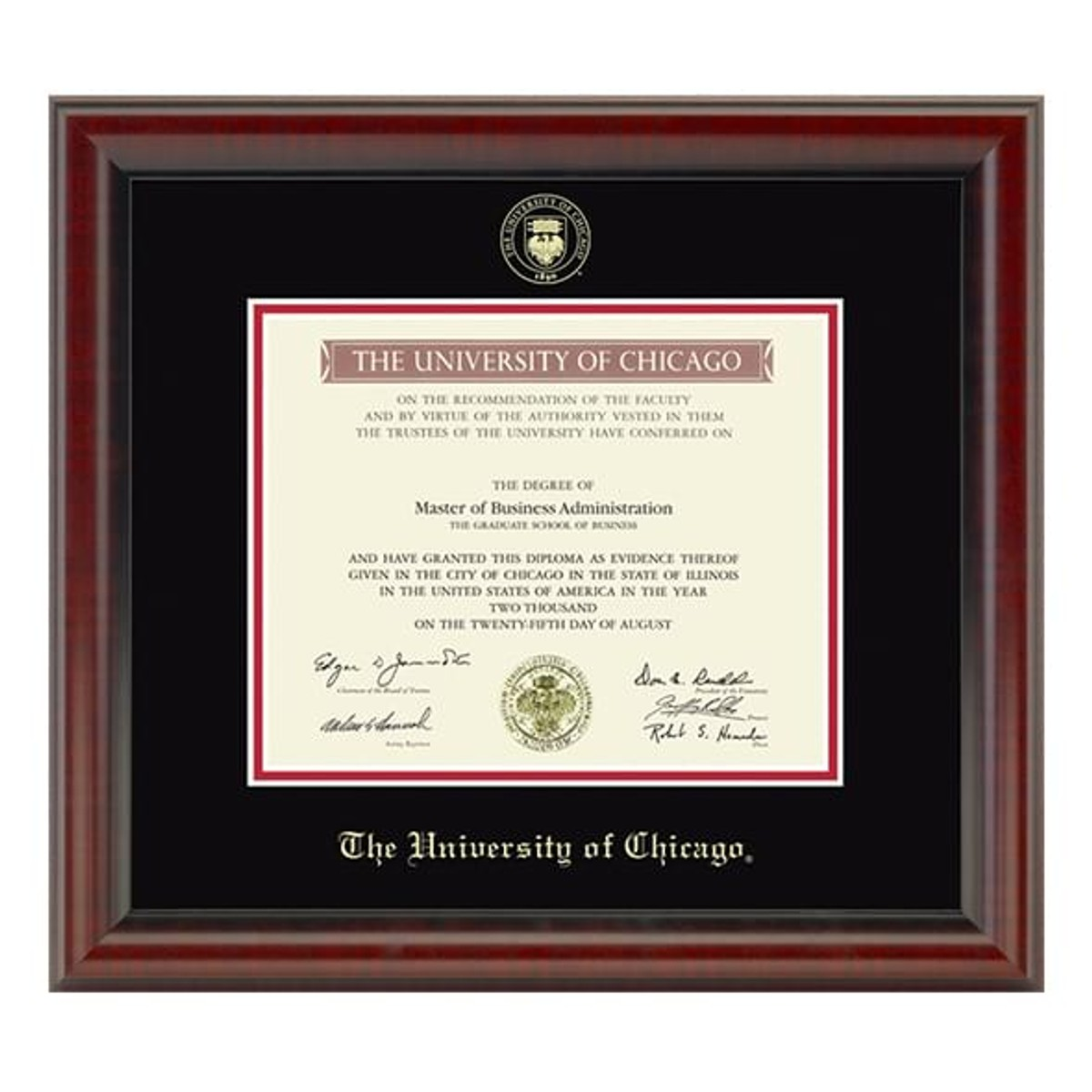 Official University of Chicago Diploma Frame, the Fidelitas ...