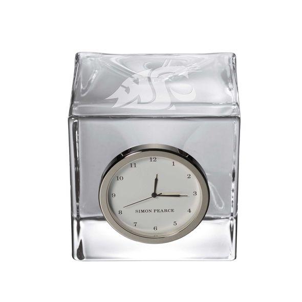 Washington State University Glass Desk Clock by Simon Pearce