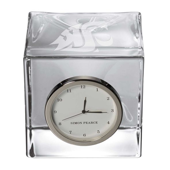 Washington State University Glass Desk Clock by Simon Pearce - Image 2