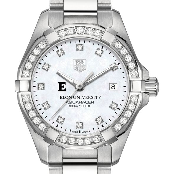 Elon University Women's TAG Heuer Steel Aquaracer with MOP Diamond Dial & Bezel