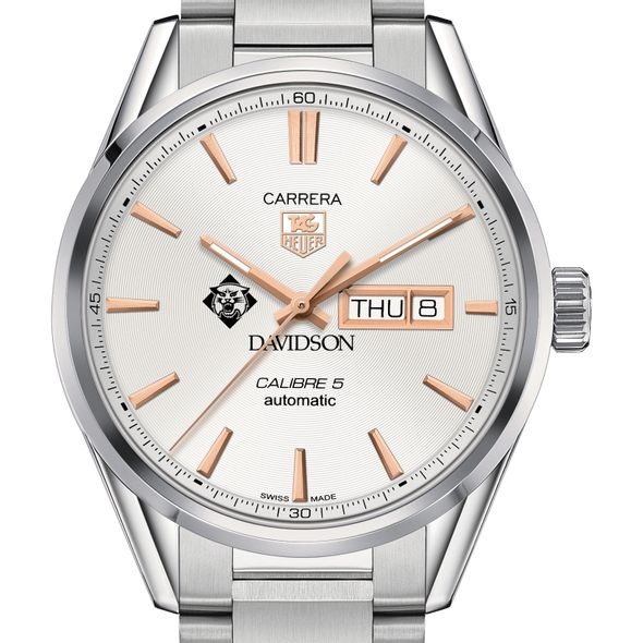 Davidson College Men's TAG Heuer Day/Date Carrera with Silver Dial & Bracelet