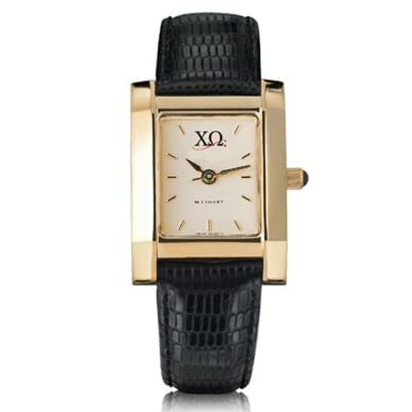Chi Omega Women's Gold Quad Watch with Leather Strap