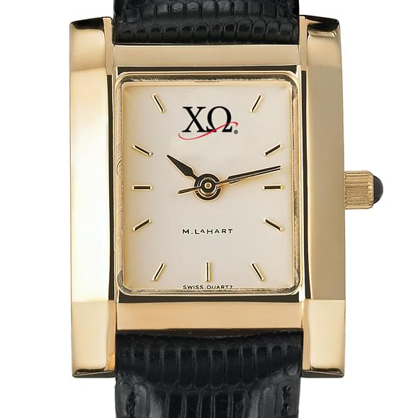 Chi Omega Women's Gold Quad Watch with Leather Strap - Image 2