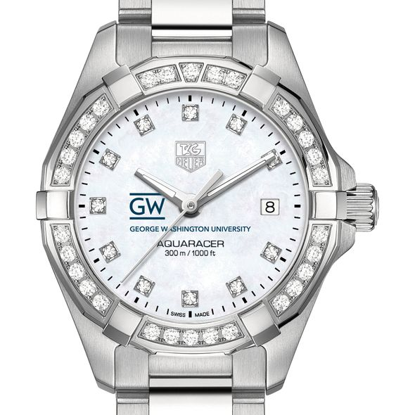 George Washington University W's TAG Heuer Steel Aquaracer with MOP Dia Dial & Bezel - Image 1